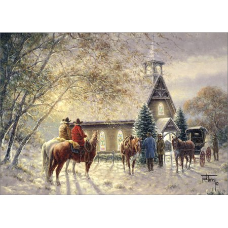 LPG Greetings Cowboys Outside Church: Jack Terry Box of 18 Western Christmas Cards ()