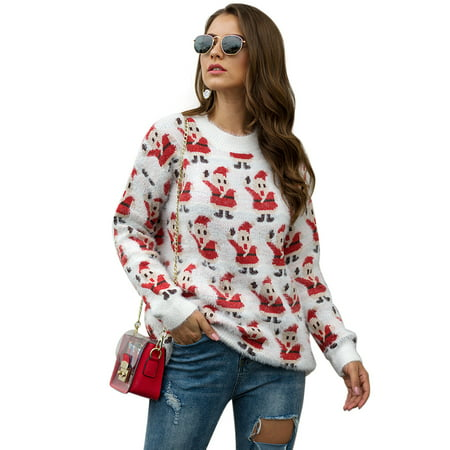 Sexy Dance S-XL 2020 New Year Women's Christmas Xmas Sweater Fashion Ugly Christmas Female Jumper Sweater Long Sleeve Xmas Santa Printed Pullover Tops Sweaters Knitwear ()
