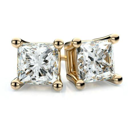 Trillion Designs 10k Yellow Gold 1/2ct Princess Cut Swarovski Stud Earrings With Screw Backs