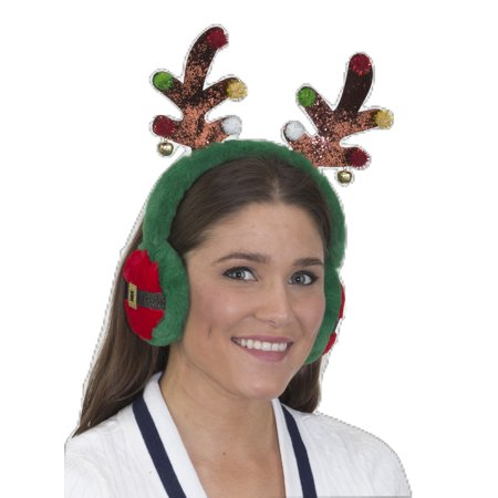 Reindeer Antlers Headband Ear Muffs Costume Glitter Bells Antler Moose Accessory](Reindeer Antler Headband Craft)