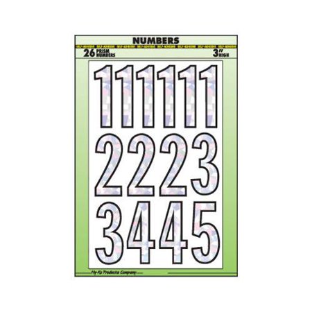 House Address Number Set, Peel & Stick, Silver/Prism Vinyl, 3-In.