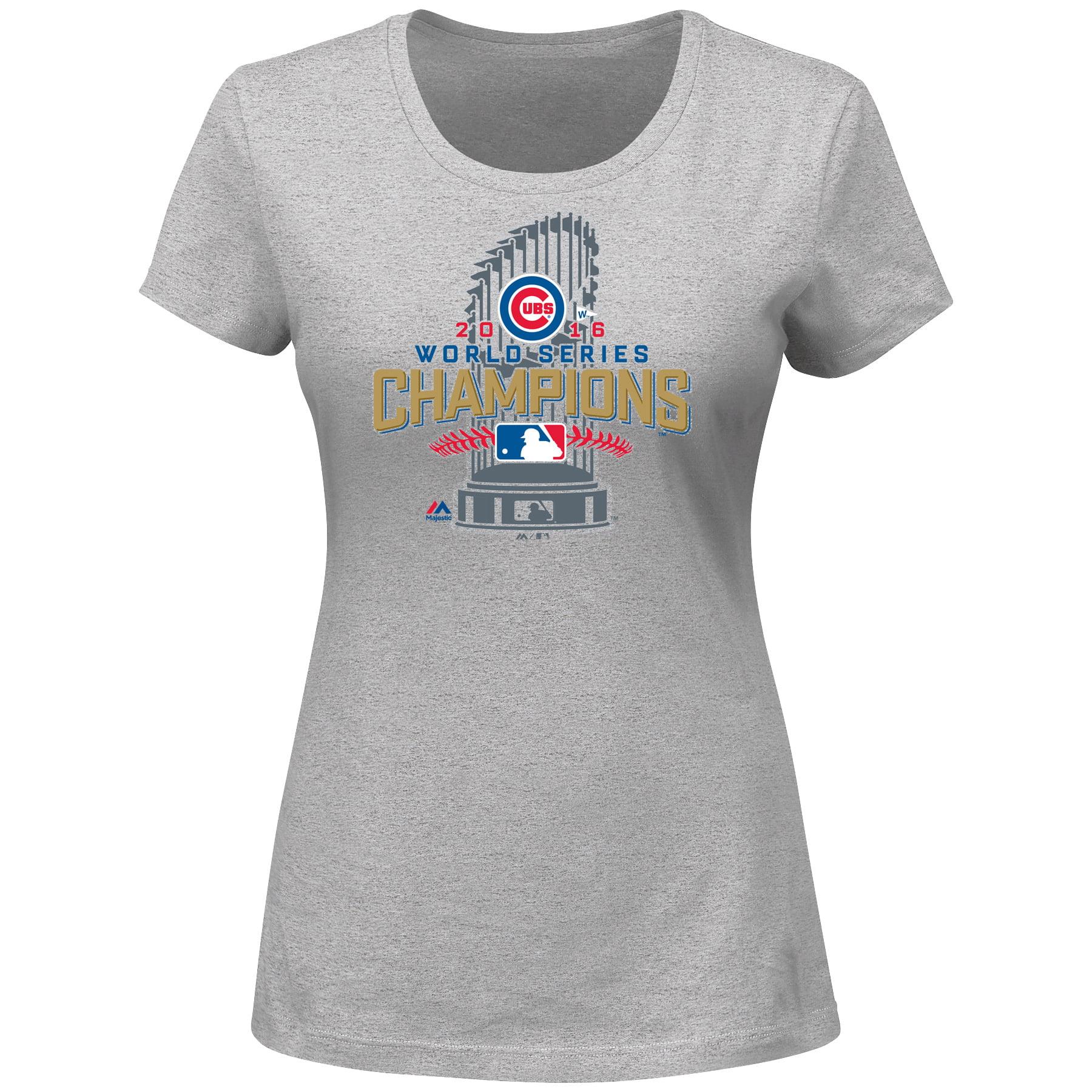 Chicago Cubs Majestic Women's 2016 World Series Champions Locker Room T-Shirt - Gray