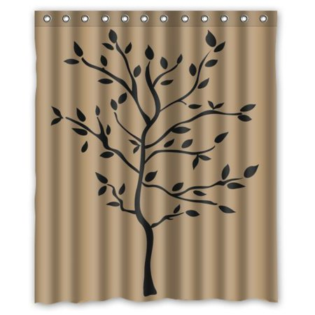 GreenDecor Tree Branches Peel Waterproof Shower Curtain Set With Hooks Bathroom Accessories Size 60x72 Inches