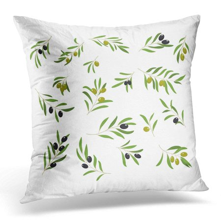 ARHOME White Branch Olive Branches with Olives Green and Black Floral Pillow Case Pillow Cover 20x20 inch