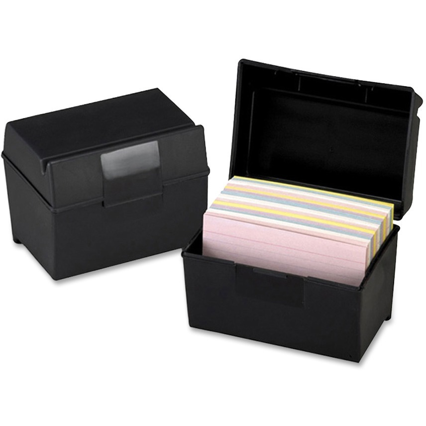 Oxford, OXF01461, Plastic Index Card Boxes with Lids, 1 Each, Black