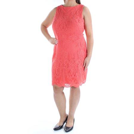 Ralph Lauren Womens Orange Lace Sleeveless Crew Neck Above The Knee Sheath Dress Size 18