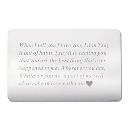 vanfeis engraved metal wallet mini love note insert card - birthday gifts for men, him - wedding anniversary gifts for husband, boyfriend - unique engagement present for groom, deployment gift