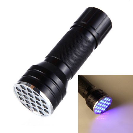21 LED UV Ultra Violet Blacklight Pocket Flashlight, Mini Torch Light, Portable Lamp, for Spotting Scorpions and Bed Bugs, Counterfeits, A/C Leaks, Pet Stains, Counterfeit Money Detector