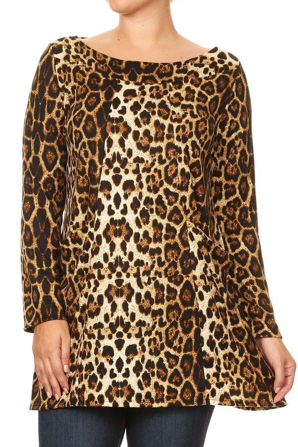 Women's Plus Size Trendy Style Long Sleeve Print Tunic Top