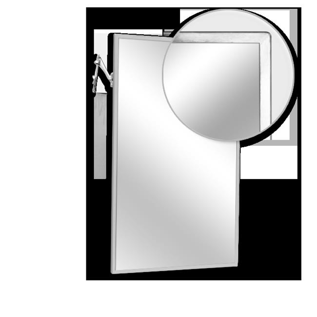 AJW U7028B-1630 Adjustable Tilt Angle Frame Mirror, No. 8B Stainless Steel Surface - 16 W X 30 H In.