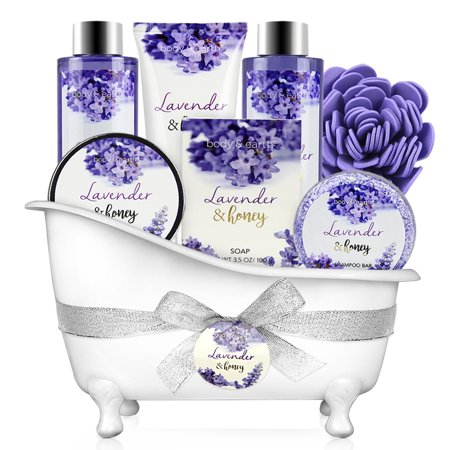 Bath and Body Set - 8 Pcs Bath Spa Gift Sets with Lavender and Honey Scent, Includes Bubble Bath, Shower Gel, Soap, Body Lotion, Bath Salt and More, Perfect Gift Basket for Pampering and Relaxation