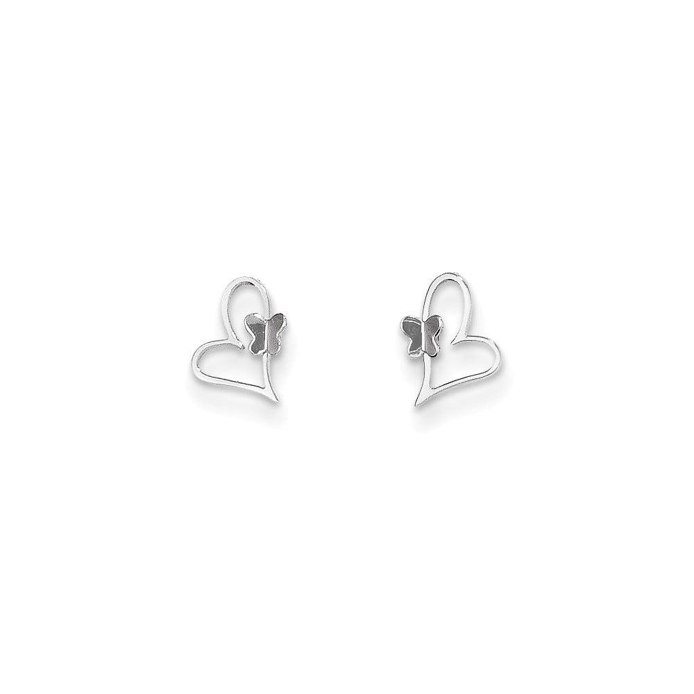 14k White Gold Childs Heart w/ Butterfly Post Earrings w/ Gift Box. (9MM Long x 6MM Wide)