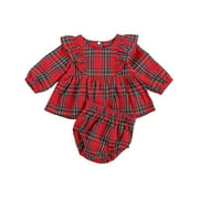 Springcmy Toddler Baby Girls Christmas Outfits Set Red Plaid Ruffle Blouse Short Bottoms Sets