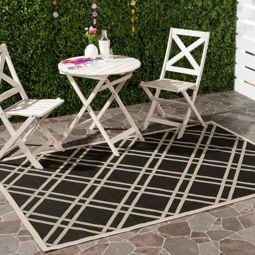 Safavieh Courtyard Black/Beige Outdoor Rug
