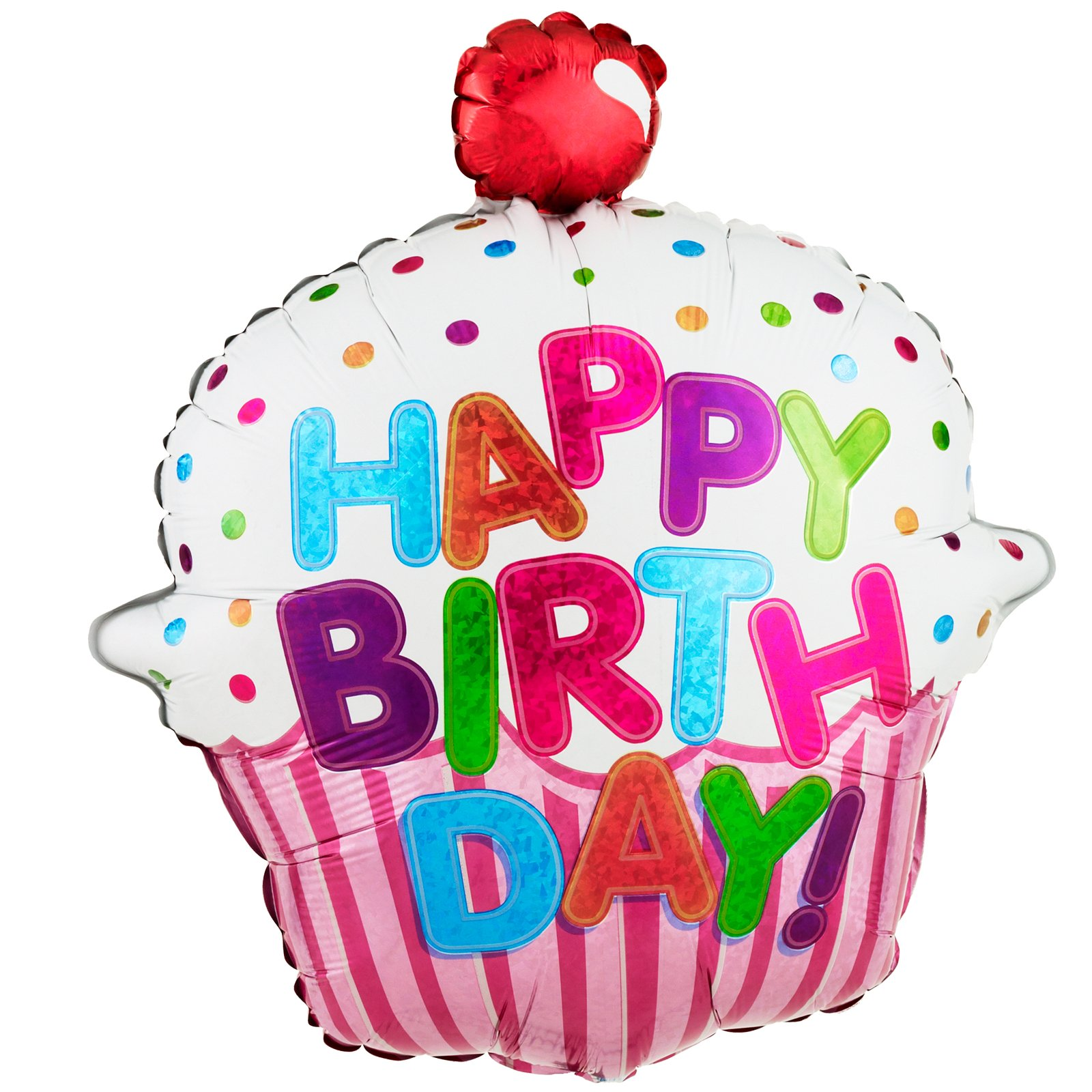 Happy Birthday Pink Cupcake 31'' Jumbo Foil Balloon