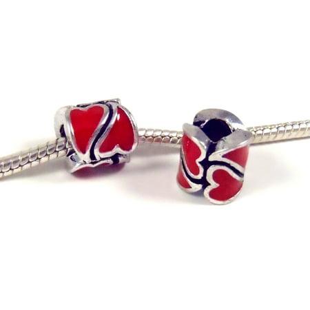 Red Enamel Heart Charm (3 Beads - Red Heart Enamel Barrel Silver European Charm Bead E0848 )