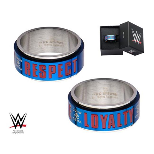 WWE Stainless Steel John Cena Hustle, Loyalty, and Respect Spinner Ring, Size 13