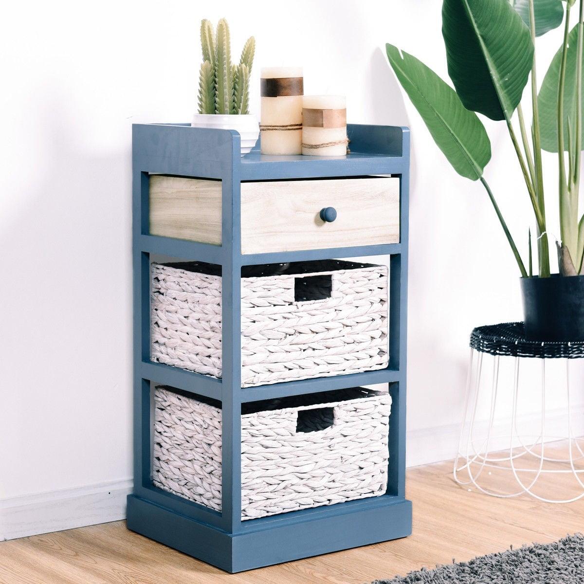 Apontus Stylish Nightstand Storage Organizer w/ 1 Drawer and 2 Baskets