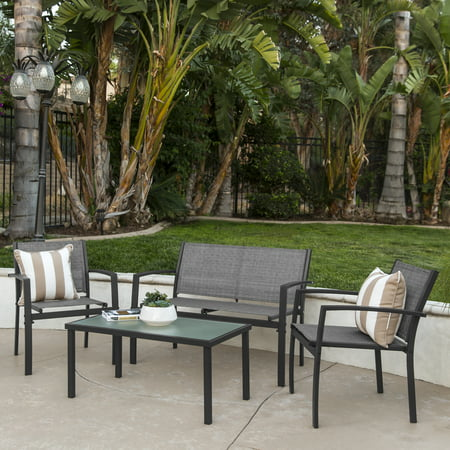 Woven Top Conversation Table (Best Choice Products 4-Piece Outdoor Patio Metal Conversation Furniture Set w/ Loveseat, 2 Chairs, and Glass Coffee Table for Backyard, Patio, Poolside - Gray)