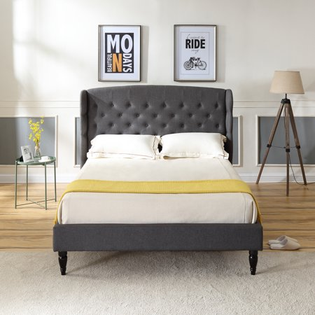 Ash Modern Bed - Modern Sleep Brighton Upholstered Platform Bed | Headboard and Wood Frame with Wood Slat Support | Grey, Multiple Sizes