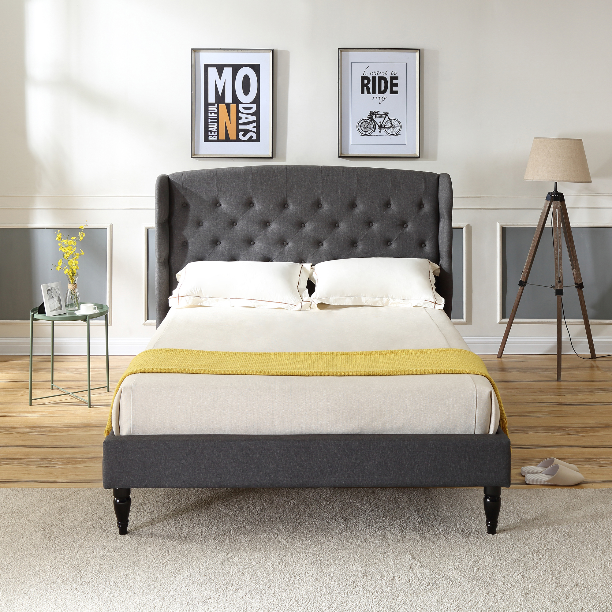 Modern Sleep Brighton Upholstered Platform Bed | Headboard and Wood Frame with Wood Slat Support | Grey, Multiple Sizes