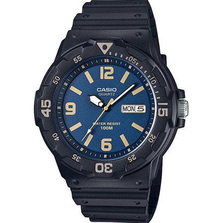 Casio MRW200H-2B3V Men's Black Resin Strap 100M Day Date Blue Dial Analog Watch Day Date Mens Wrist Watch