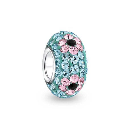 Aqua Blue Pink Flower Crystal Spacer Bead Core 925 Sterling Silver Fits European Charm Bracelet For Women For - Aqua Crystal Flower