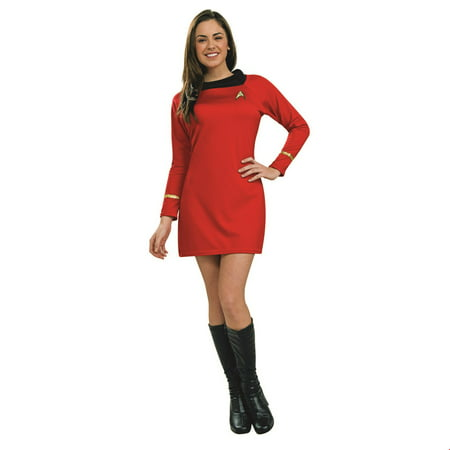 Star Trek Womens Classic Deluxe Red Dress Adult Halloween Costume - Halloween Costumes Adults Women