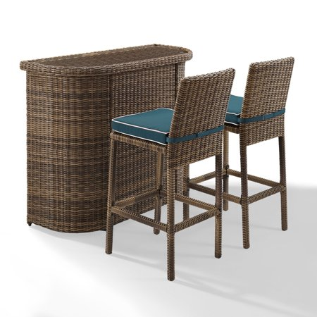 Crosley Furniture Bradenton 3 Piece Outdoor Wicker Bar Set - Bar & Two Stools with Navy