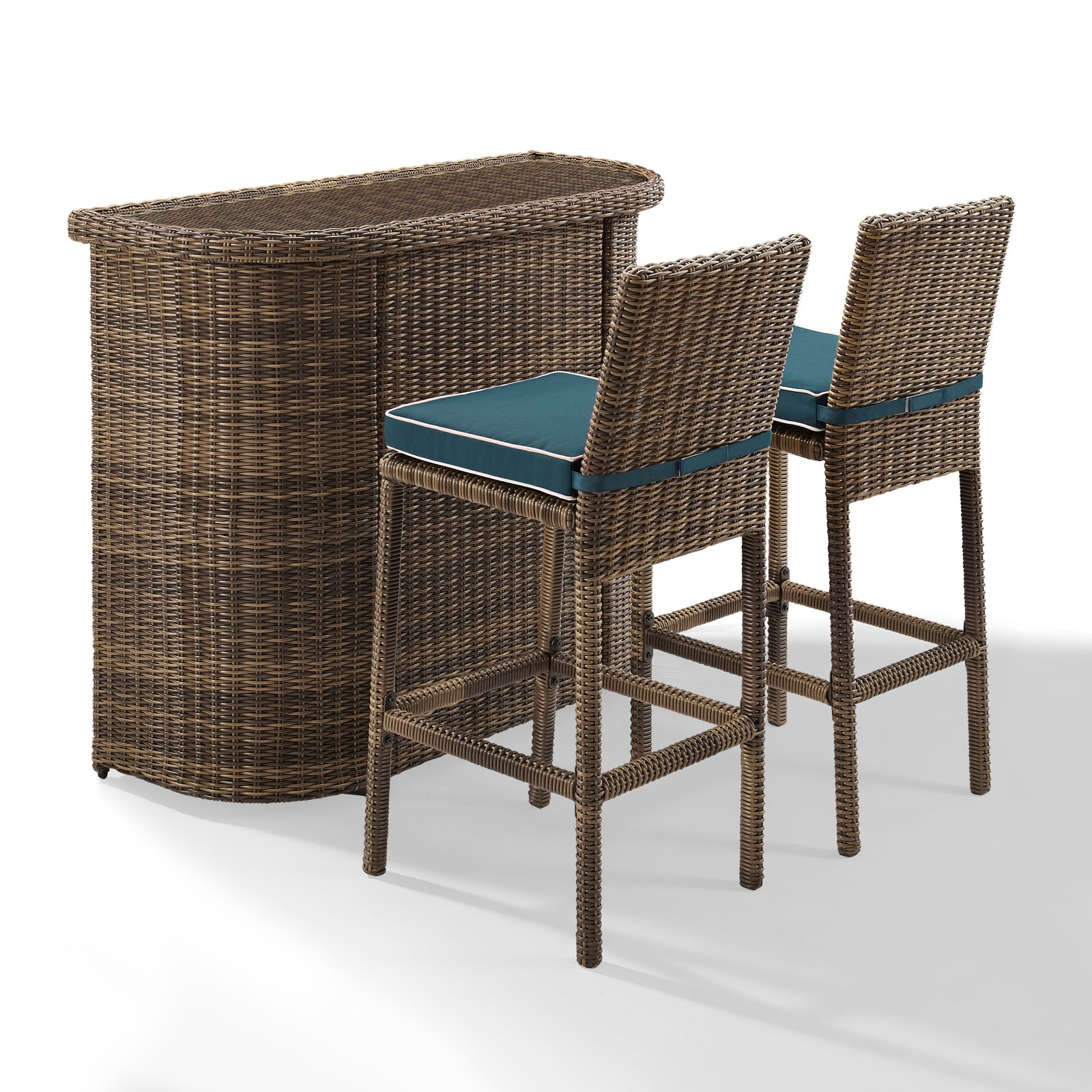 Crosley Furniture Bradenton 3 Piece Outdoor Wicker Bar Set - Bar & Two Stools with Navy Cushions