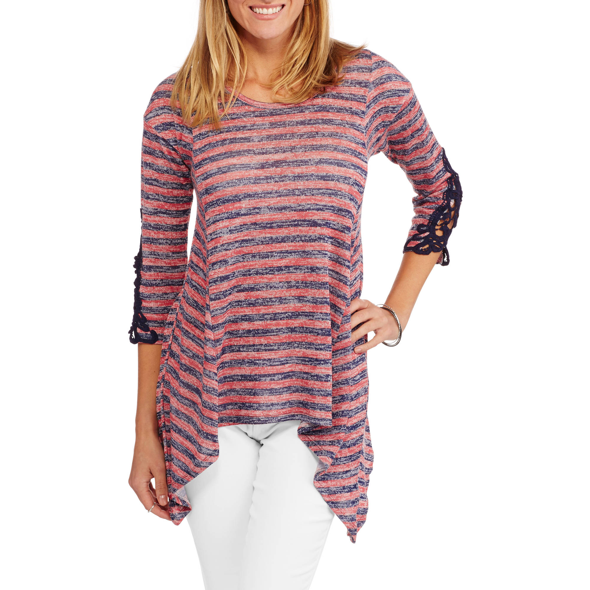 Absolutely Famous Women's Striped Sharkbite Tunic with Crochet Trim