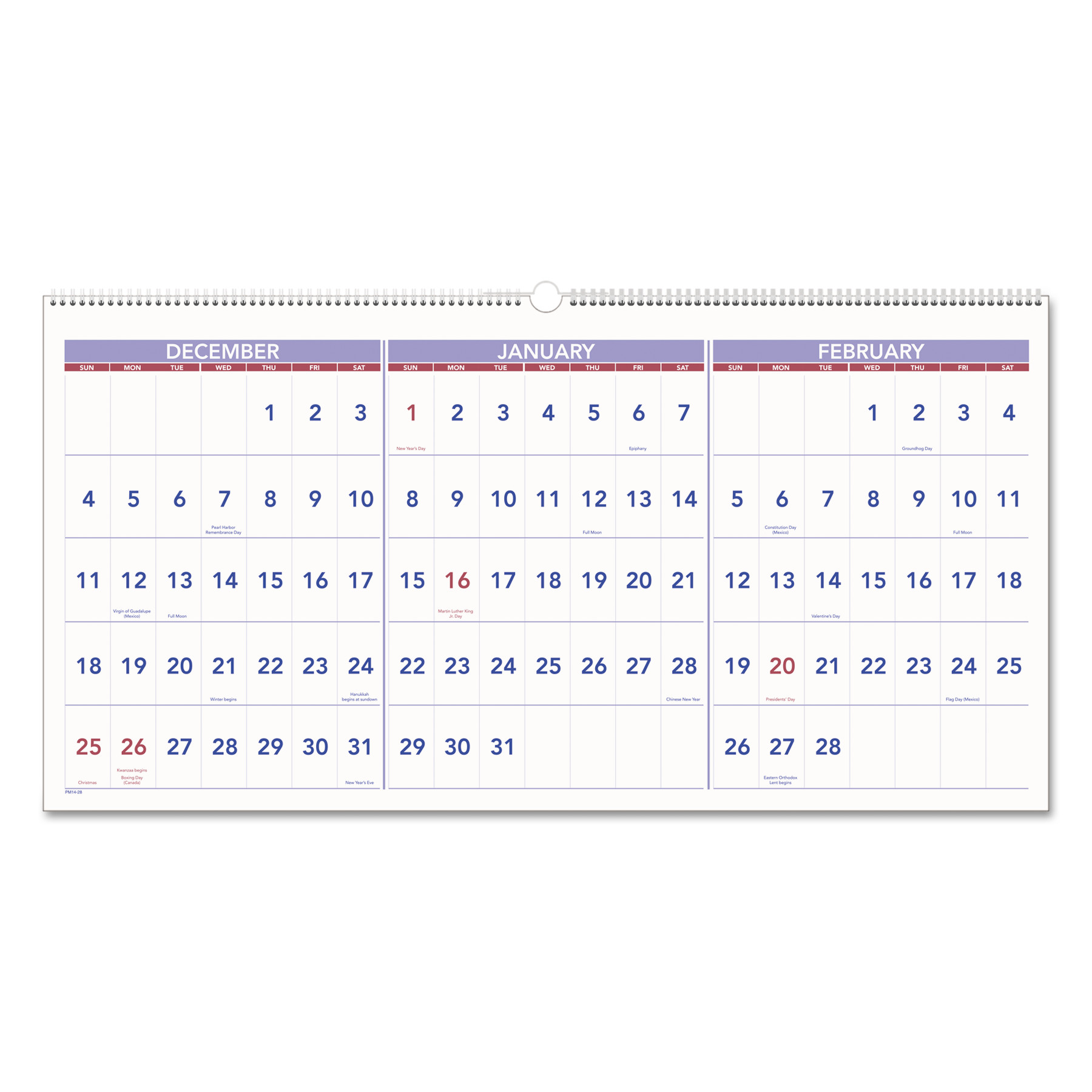 AT-A-GLANCE Horizontal-Format Three-Month Reference Wall Calendar, 23 1/2 x 12, 2017-2019