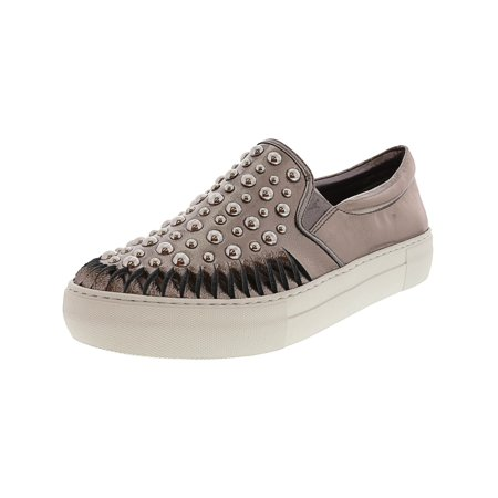 J/Slides Women's Azt Leather Pewter Ankle-High Fashion Sneaker - 7M