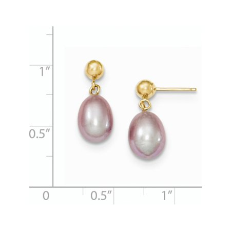 14k Yellow Gold 7-8mm Purple FW Cultured Pearl Dangle (7.5x17mm) Earrings - image 2 of 3