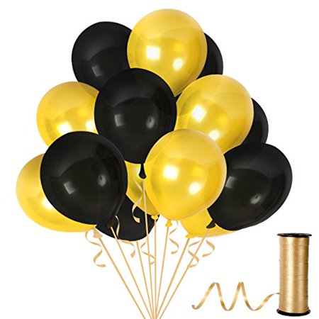 Gold and Black Latex Balloons with 65 Yards Crimped Curling Ribbon Pieces Set Thick Party Decorations For Birthdays, Anniversaries and Weddings by Treasures Gifted (Balloons Price)