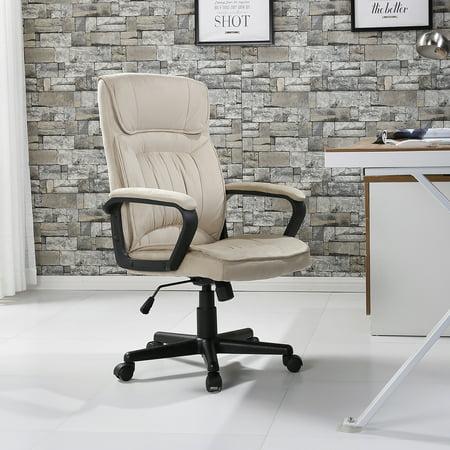 Belleze Executive High Back Lumbar Padded Office Chair Microfiber Beige