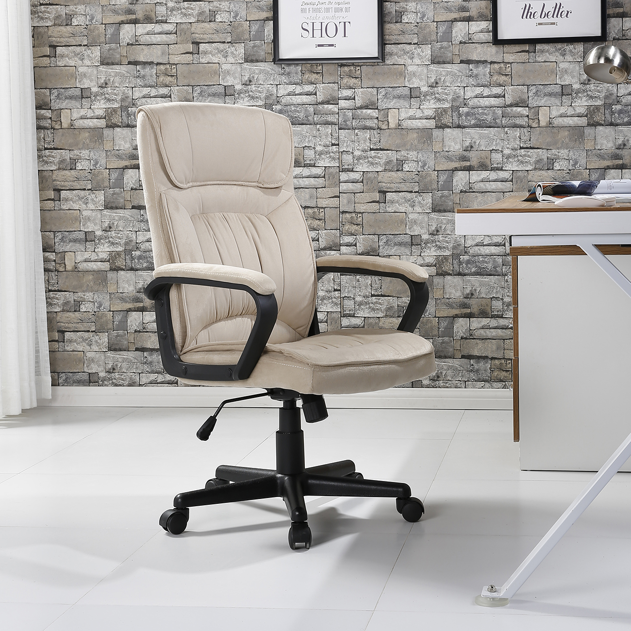 Belleze Executive High Back Lumbar Padded Office Chair Microfiber, Beige