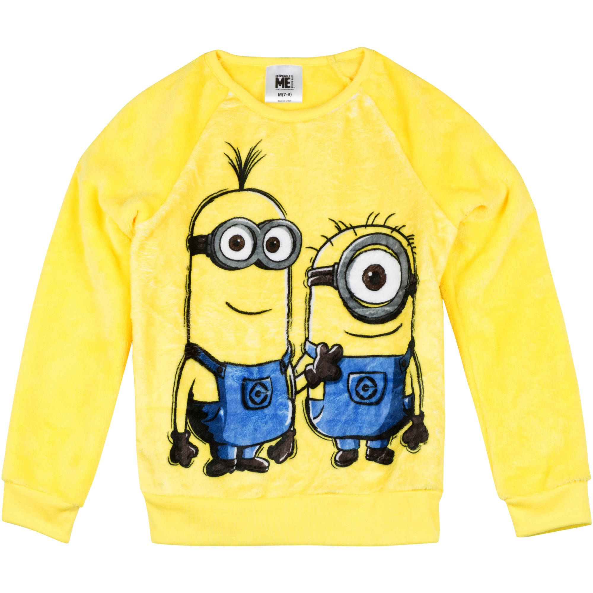 "Despicable Me Girls' Printed Fur Sweatshirt ""Minions Split Front"""