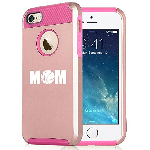 For Apple iPhone 5 5s Rose Gold Shockproof Impact Hard Soft Case Cover Mom Basketball (Rose Gold-Hot Pink)