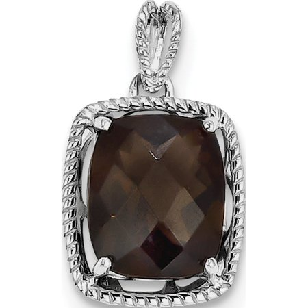 Leslies Fine Jewelry Designer 925 Sterling Silver Rhodium-plated Smoky Quartz (13x22mm) Pendant