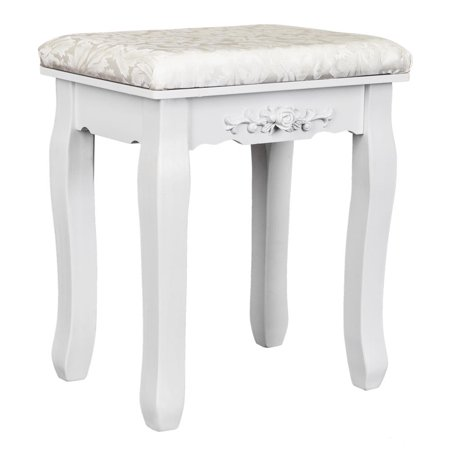 UBesGoo Vanity Stool Makeup Bench Dressing Stools for Wood Legs,Padded Cushioned Chair Piano Seat Bathroom Bedroom Large Vanity Benches ()