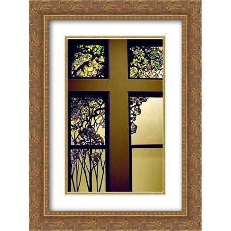 Louis Comfort Tiffany 2x Matted 18x24 Gold Ornate Framed Art Print 'Apple Blossom and Magnolia (Tiffany Apple)