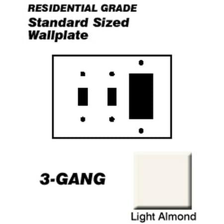Leviton 80421-T Wallplate 3-Gang 2-Toggle 1-Decora Standard Size Plastic - Light Almond
