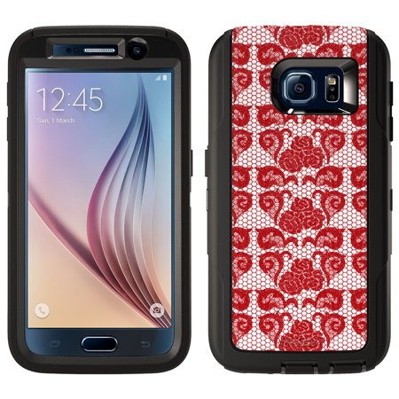 SKIN DECAL FOR OtterBox Defender Samsung Galaxy S6 Case - Stunning Hot Red Rose Swirl Lace DECAL, NOT A CASE