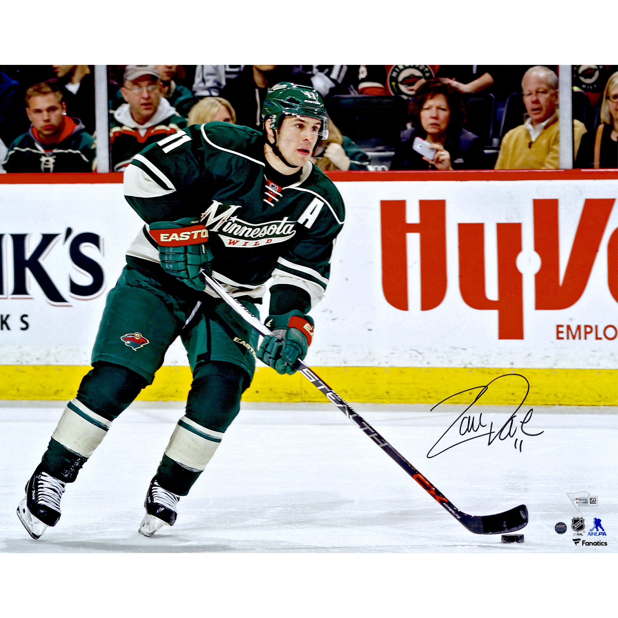 "Zach Parise Minnesota Wild Fanatics Authentic Autographed 16"" x 20"" Skating With Puck Photograph - Steiner Sports - No Size"