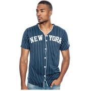 True Rock Men's New York Slim Fit Pinstripe Baseball Jersey (White/Navy, Large)