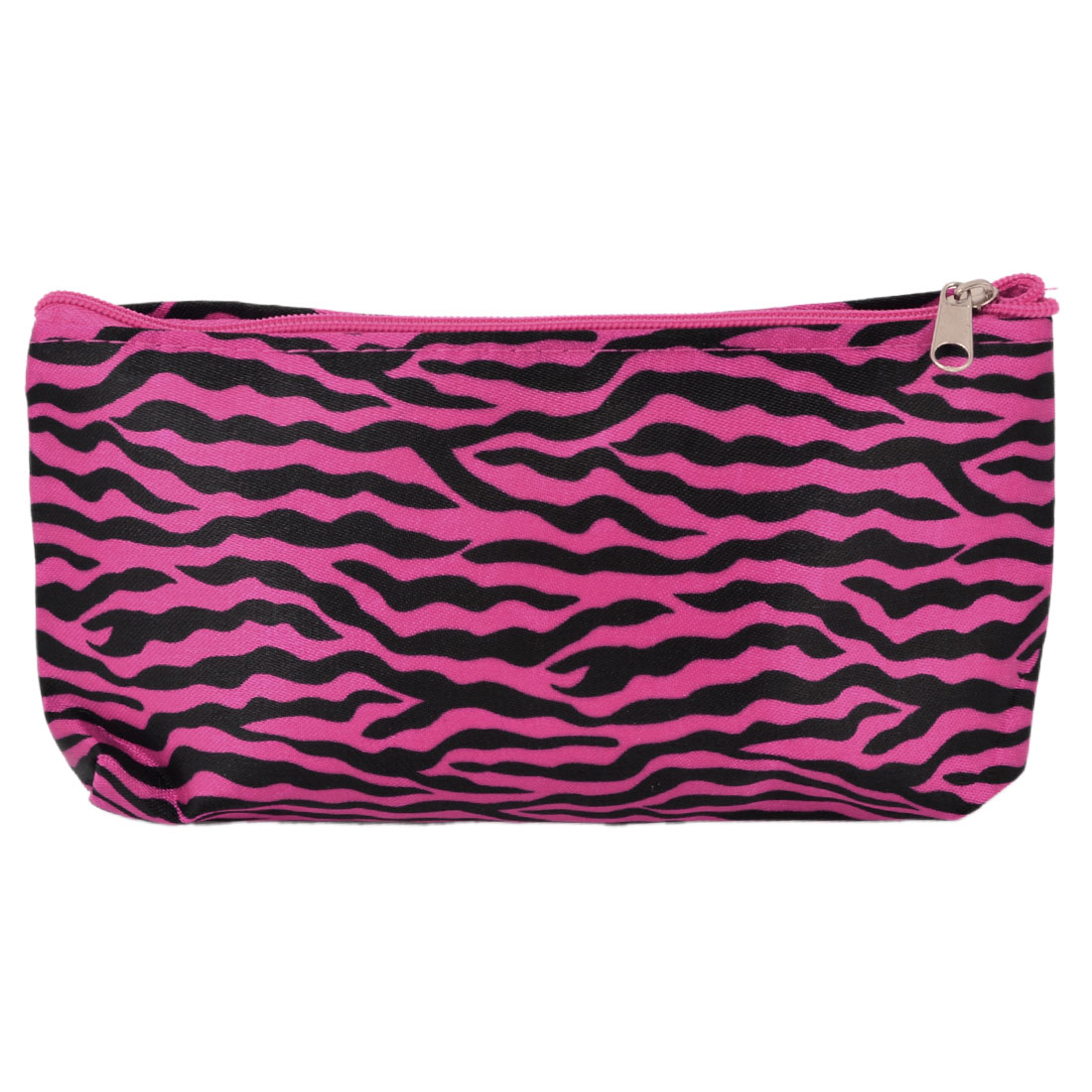Fuchsia Black Zebra Style Zippered Cosmetic Makeup Bag for Women