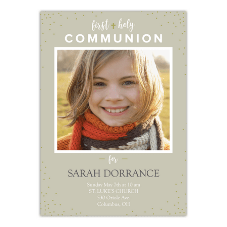 Personalized First Communion Invitation - Communion Light - 5 x 7 Flat (First Holy Communion Invitations)