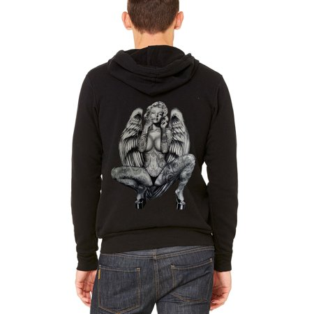 Men's Marilyn Monroe Angel Wings Black C9 Fleece Zipper Hoodie X-Small Black](X Wing Pilot Hoodie)