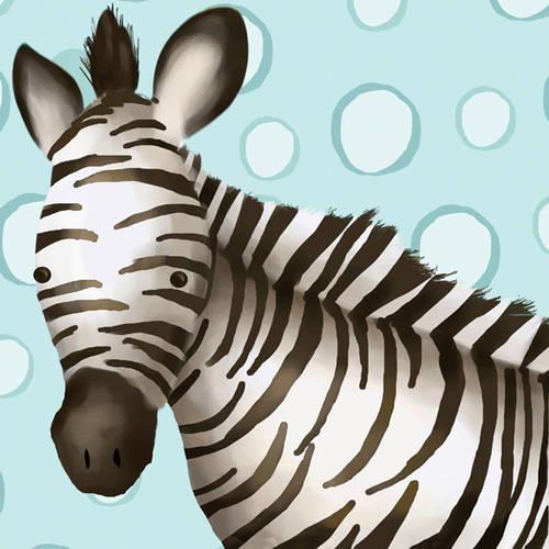 Oopsy Daisy's Timmy the Zebra Blue Canvas Wall Art, 10x10